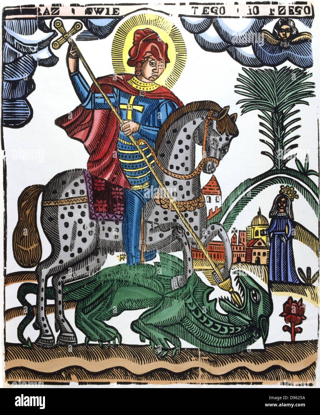 St George killing the dragon. Half legendary Christian soldier from Cappodocia martyred under Diocletian, 303. In - Stock Image