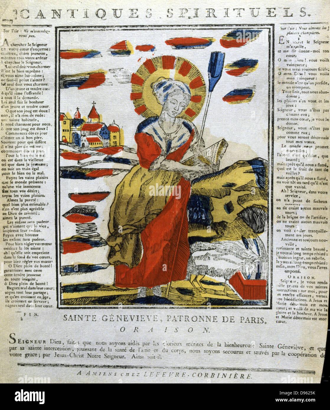 St Genevieve (423-512), Patron saint of Paris. 19th century French coloured woodcut. Stock Photo