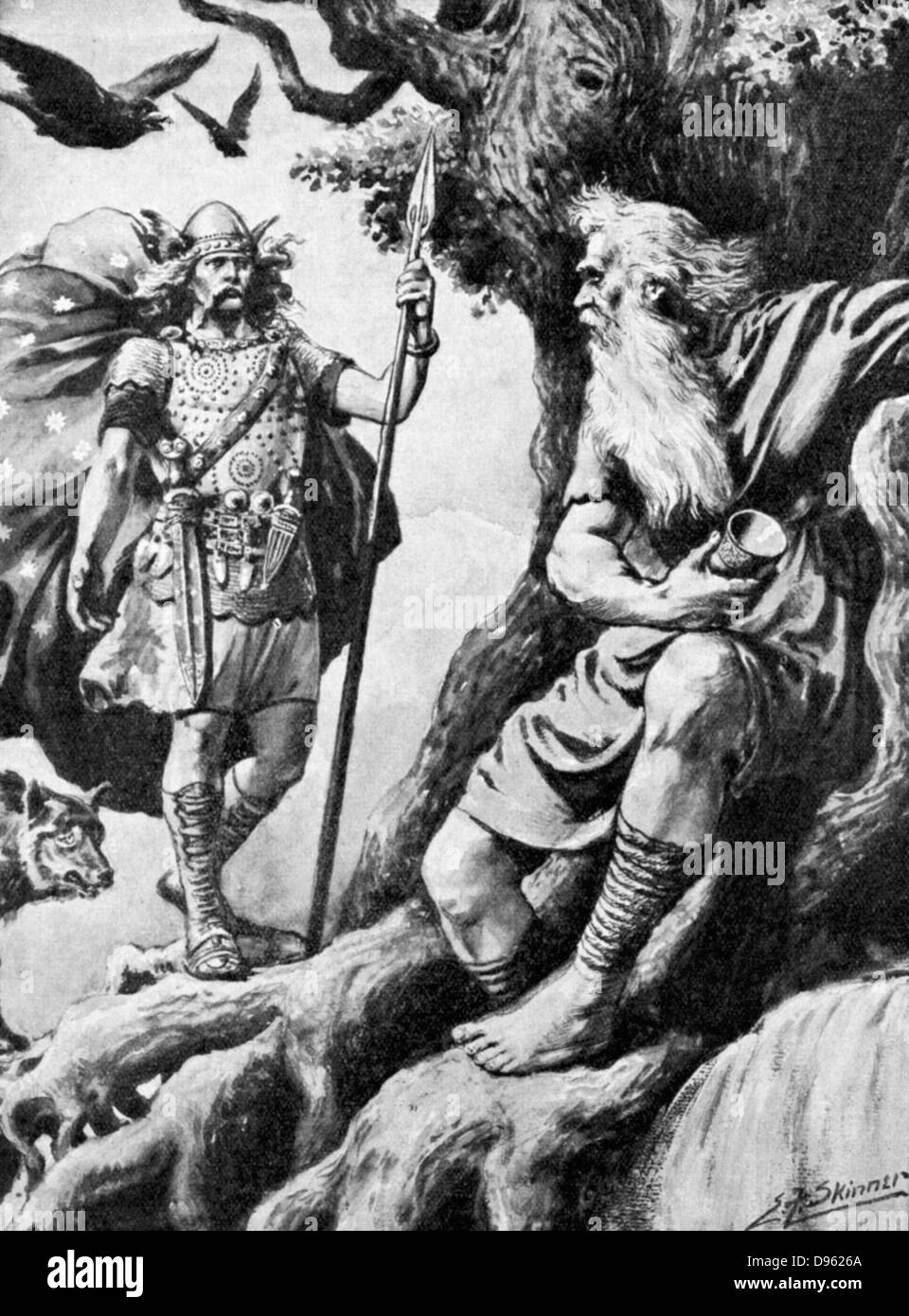 Odin or Wotan. One of principal gods of Norse mythology. God of War. Here he seeks wisdom to make him all-powerful. - Stock Image