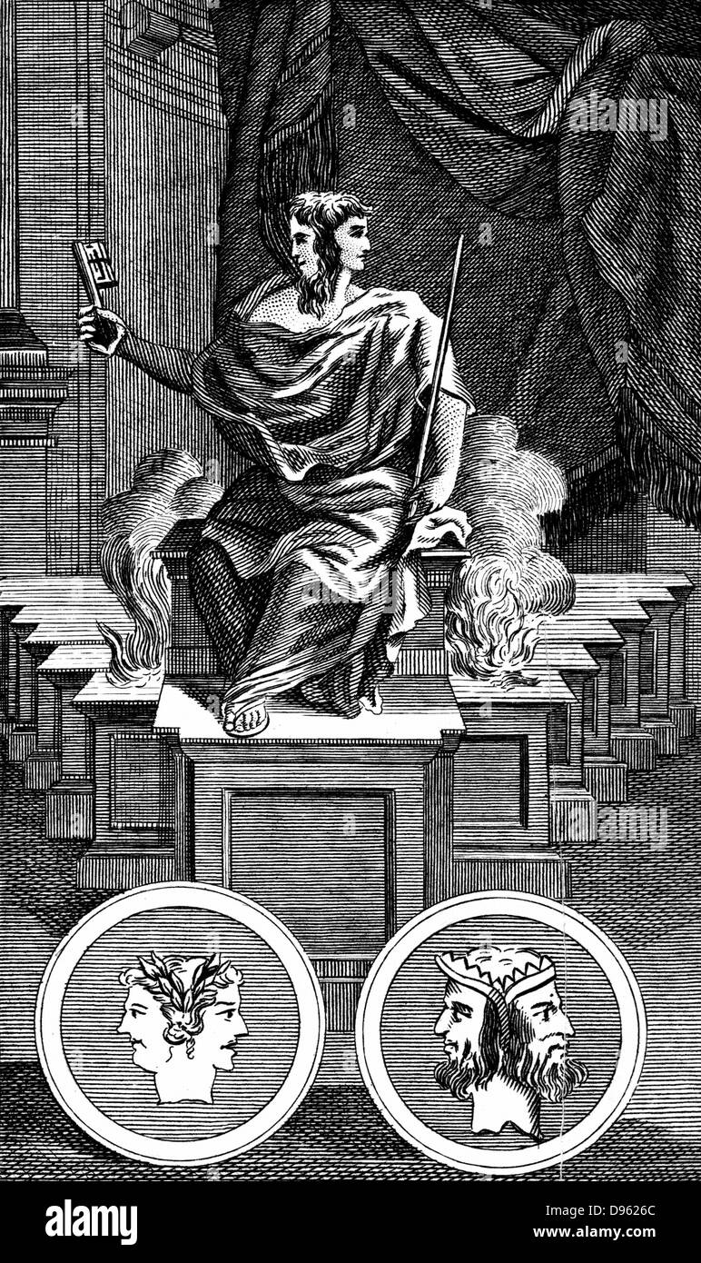 Janus: Two-faced Ancient Roman god, keeper of the gate of heaven. Copperplate engraving 1798. - Stock Image