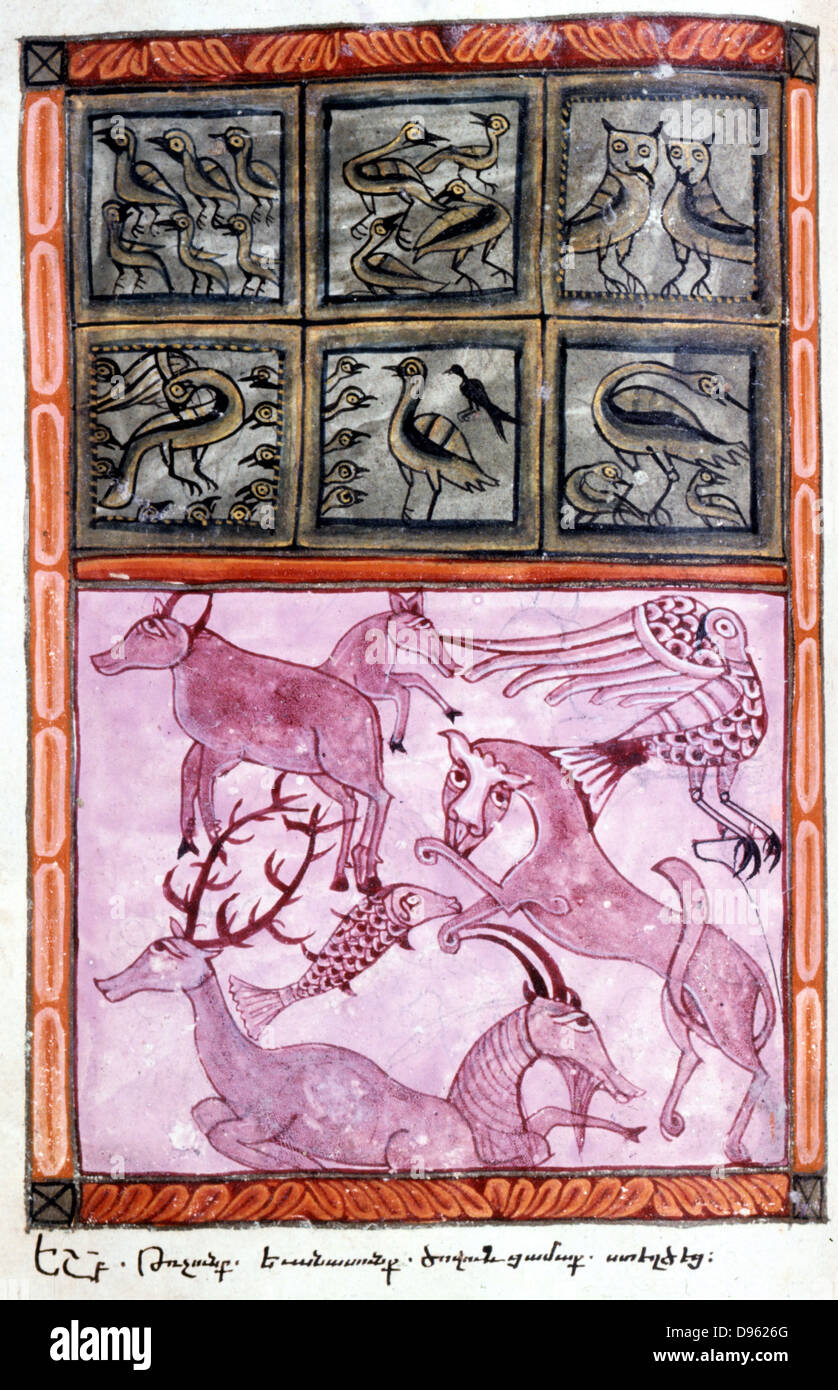 Creation of the animals. Bible: Genesis. Old Testament.  From Armenian Evangelistery, 1587, manuscript. Stock Photo