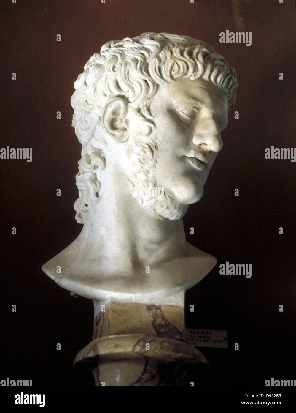 Nero (37-68) Roman emperor from 54. Marble bust. - Stock Image