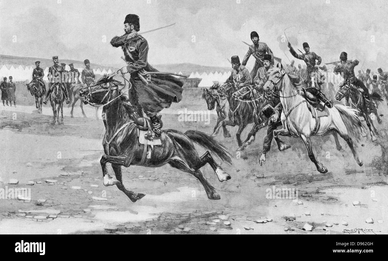 Russo-Japanese War 1904-1905:  Russian Cossacks at drill. - Stock Image