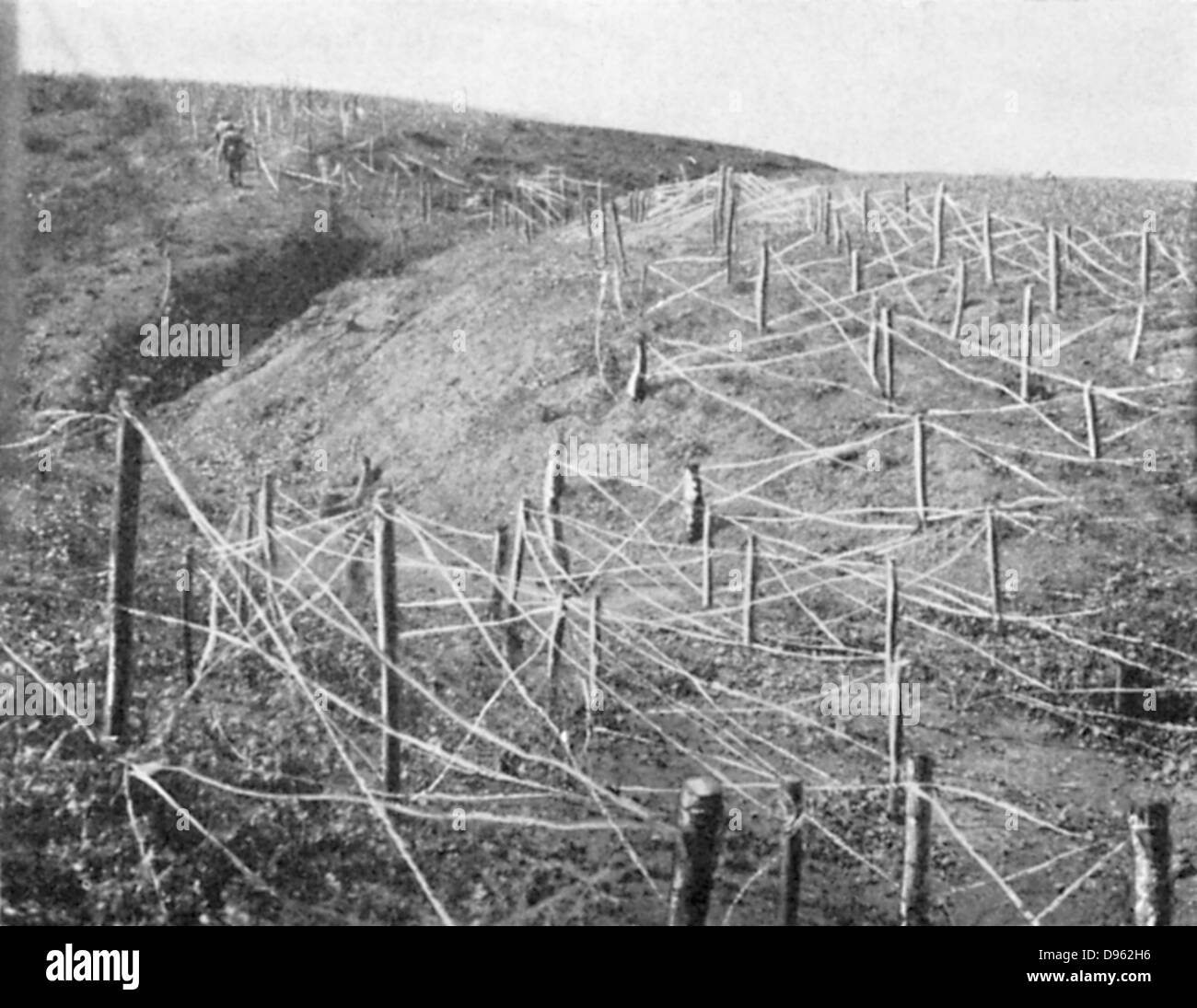 Russo-Japanese War 1904-1905:  Russian barbed wire entanglements. - Stock Image