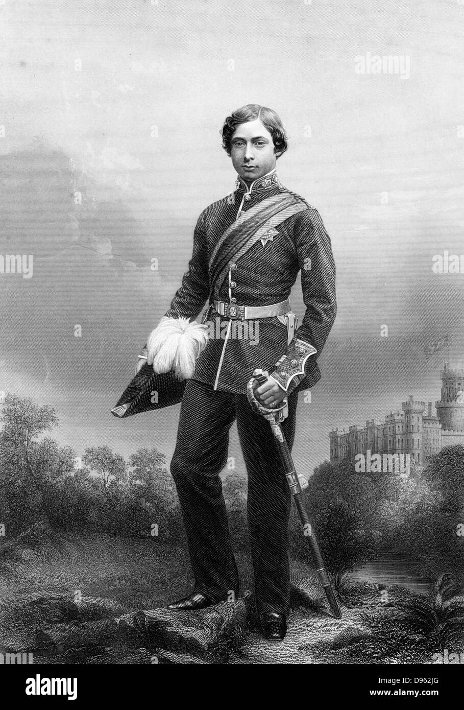 Edward VII (1841-1910) king of Great Britain from 1901. Here in the uniform of a Colonel when Prince of Wales. Engraving - Stock Image