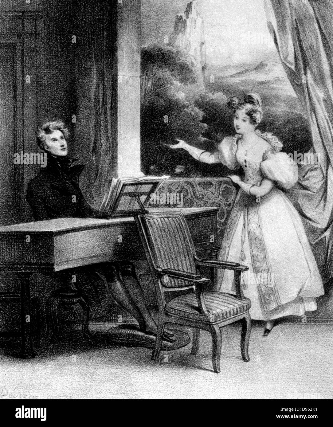 Pianist at the keyboard. 19th century lithograph - Stock Image