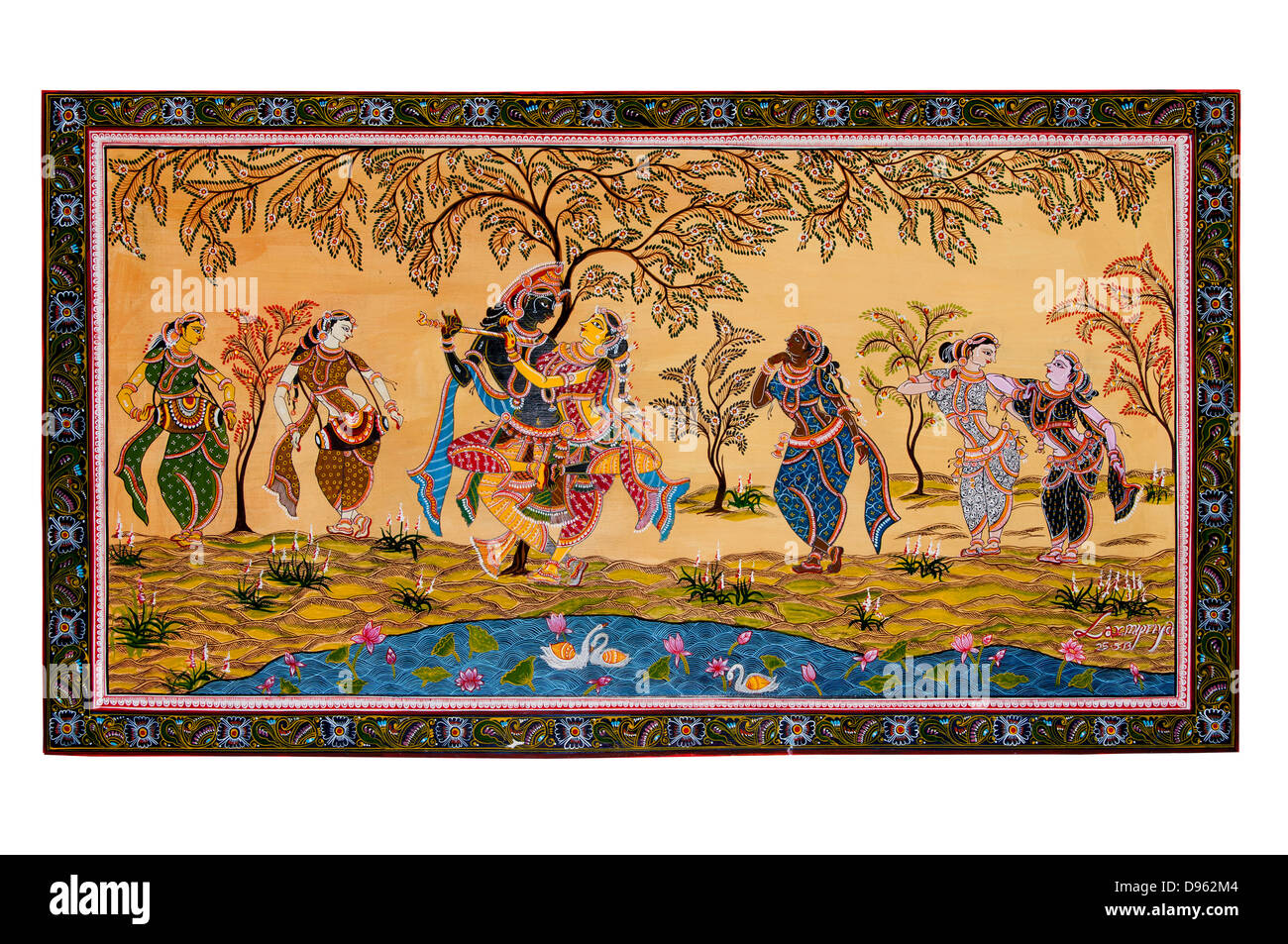 Krishna radha dacing painting , rasa lila or rasa dance - Stock Image