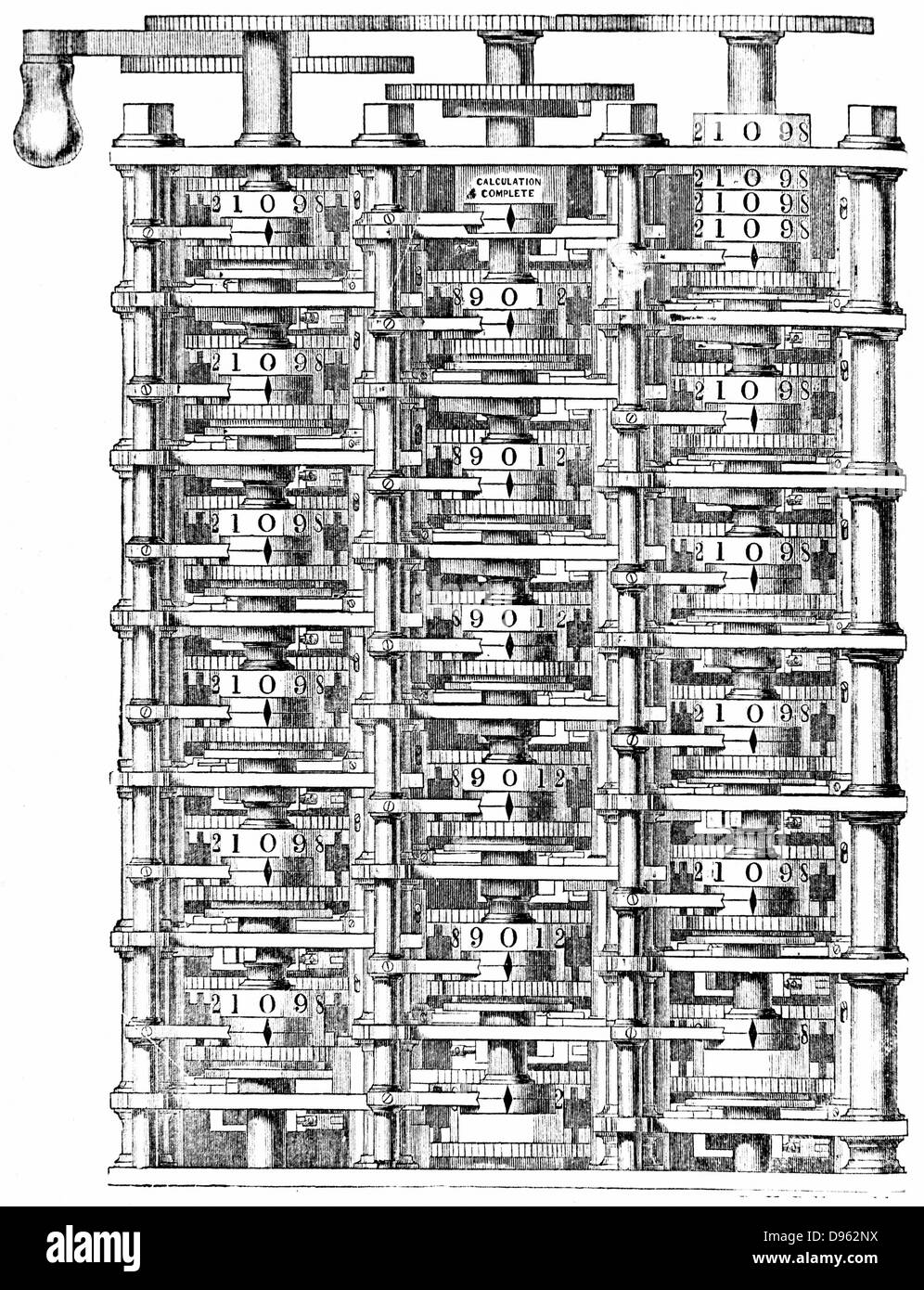 Babbage's 'difference machine'.   From Charles Babbage 'Passages from the Life of a Philosopher', - Stock Image