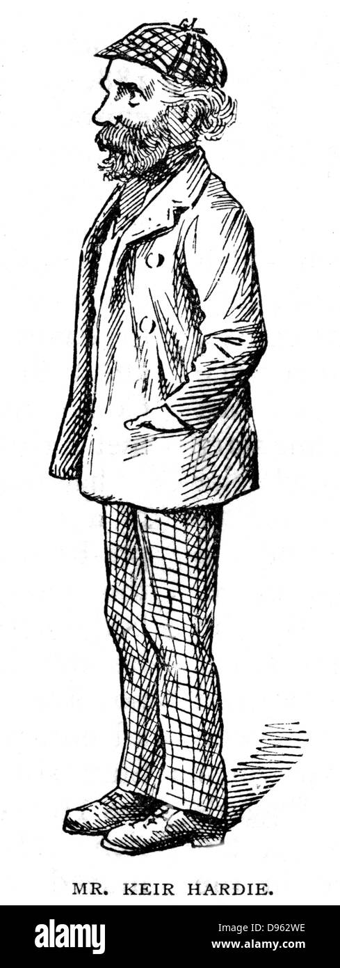 (James) Kier Hardie (1865-1915) Scottish-born Labour politician. A founder of the Labour Party. Cartoon from 'The - Stock Image