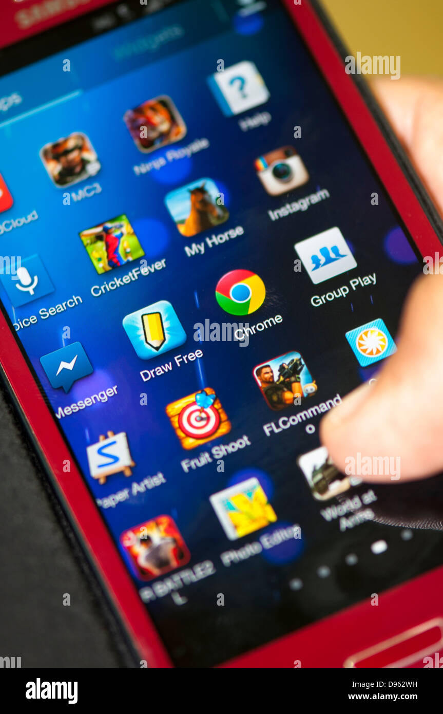 Close up of mobile phone apps screen - Stock Image