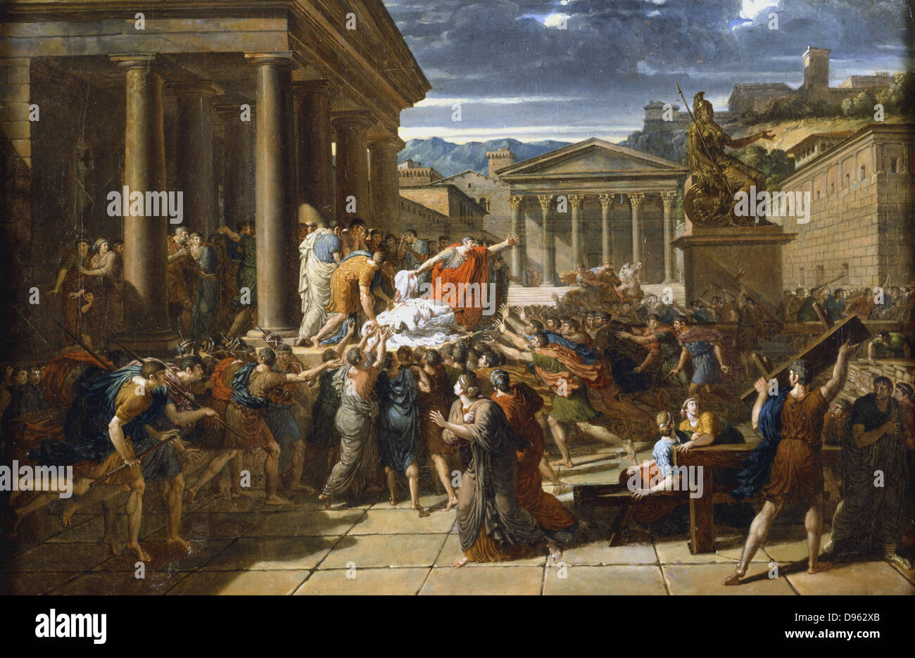The Death of Caesar'. Julius Caesar's body displayed to the crowd outside the Senate, Rome.  William Guillon, - Stock Image
