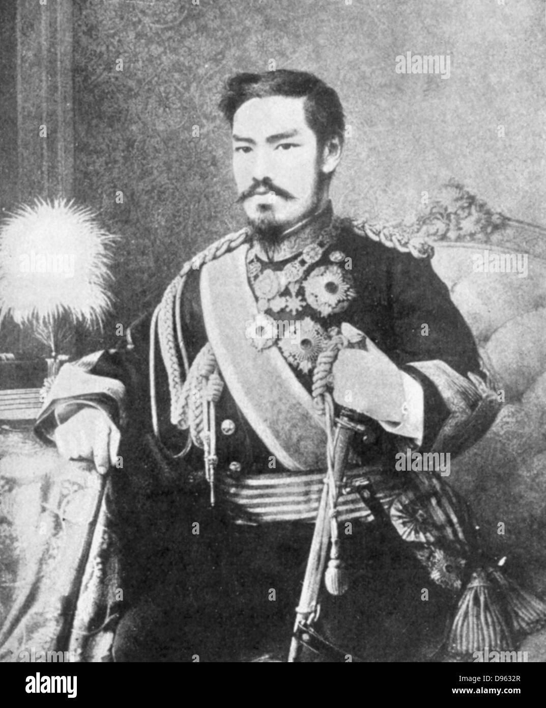Mutsuhito (1852-1912) Emperor of Japan from 1867.  Photographing the Mikado (Emperor) was forbidden - Stock Image