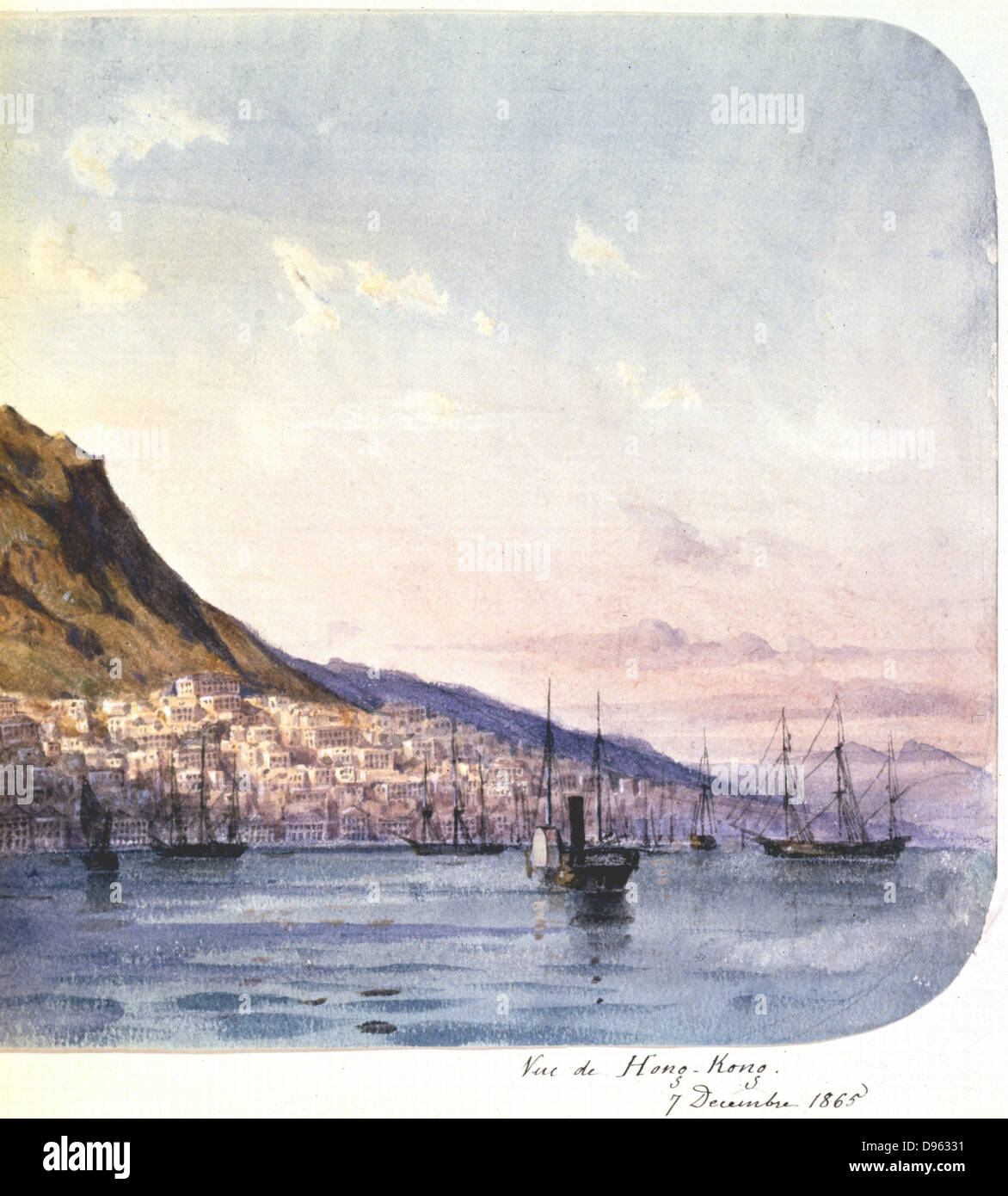 View of Hong Kong, 7 December 1865'. View showing paddle steamer and sailing vessels in the harbour and the - Stock Image