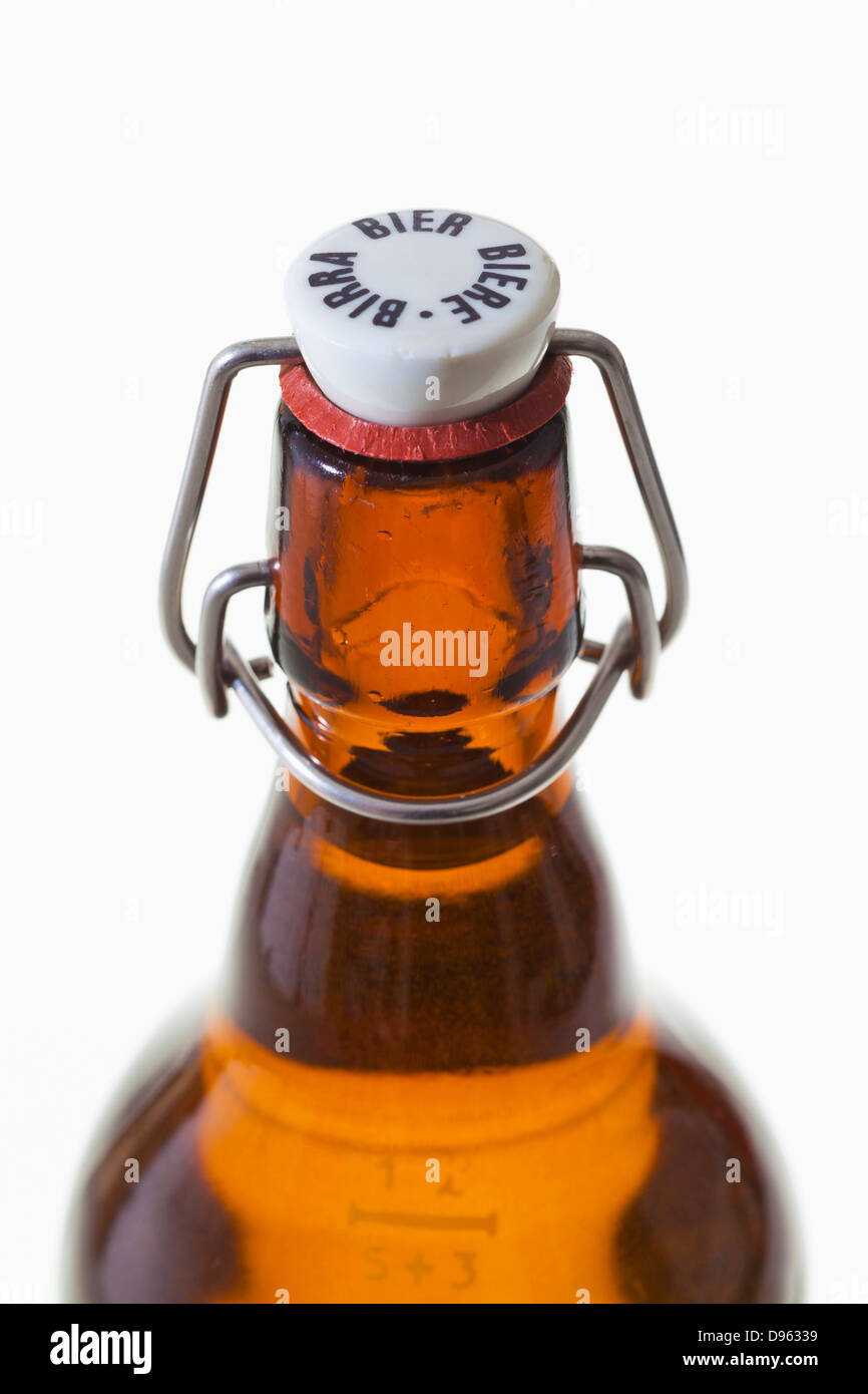 Old beer bottle with hoop lock on white background Stock Photo