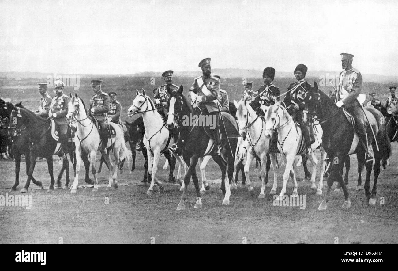 Nicholas II (1868-1919) Tsar of Russia from 1894, on horseback, accompanied by his Staff officers. - Stock Image