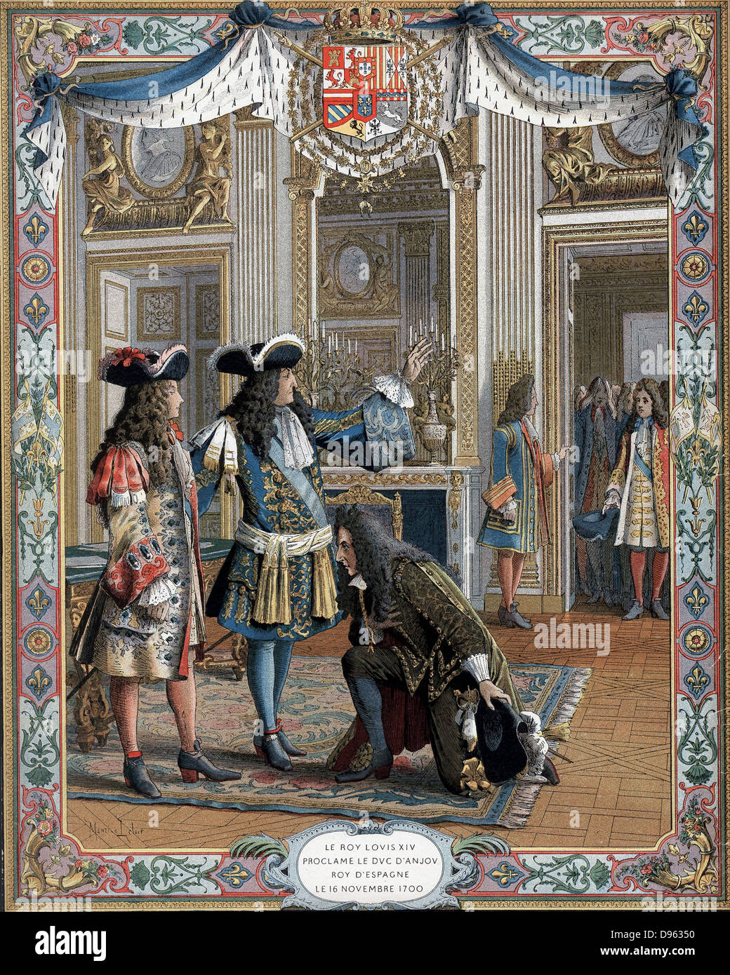 Louis XIV (1638-1715) king of France from 1643, proclaiming duc d'Anjou,  his grandson, king of Spain, 16 November 1700. War of