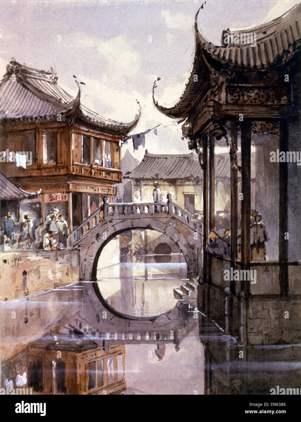 Shanghai c1865. View of canal lined with buildings.  Jean Henri Zuber (1844-1909) French artist. Watercolour. - Stock Image