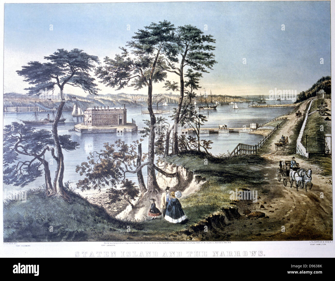 Staten Island and the Narrows New York viewed from Fort Hamilton. Fort Layfayette centre framed by trees. Lithograph - Stock Image