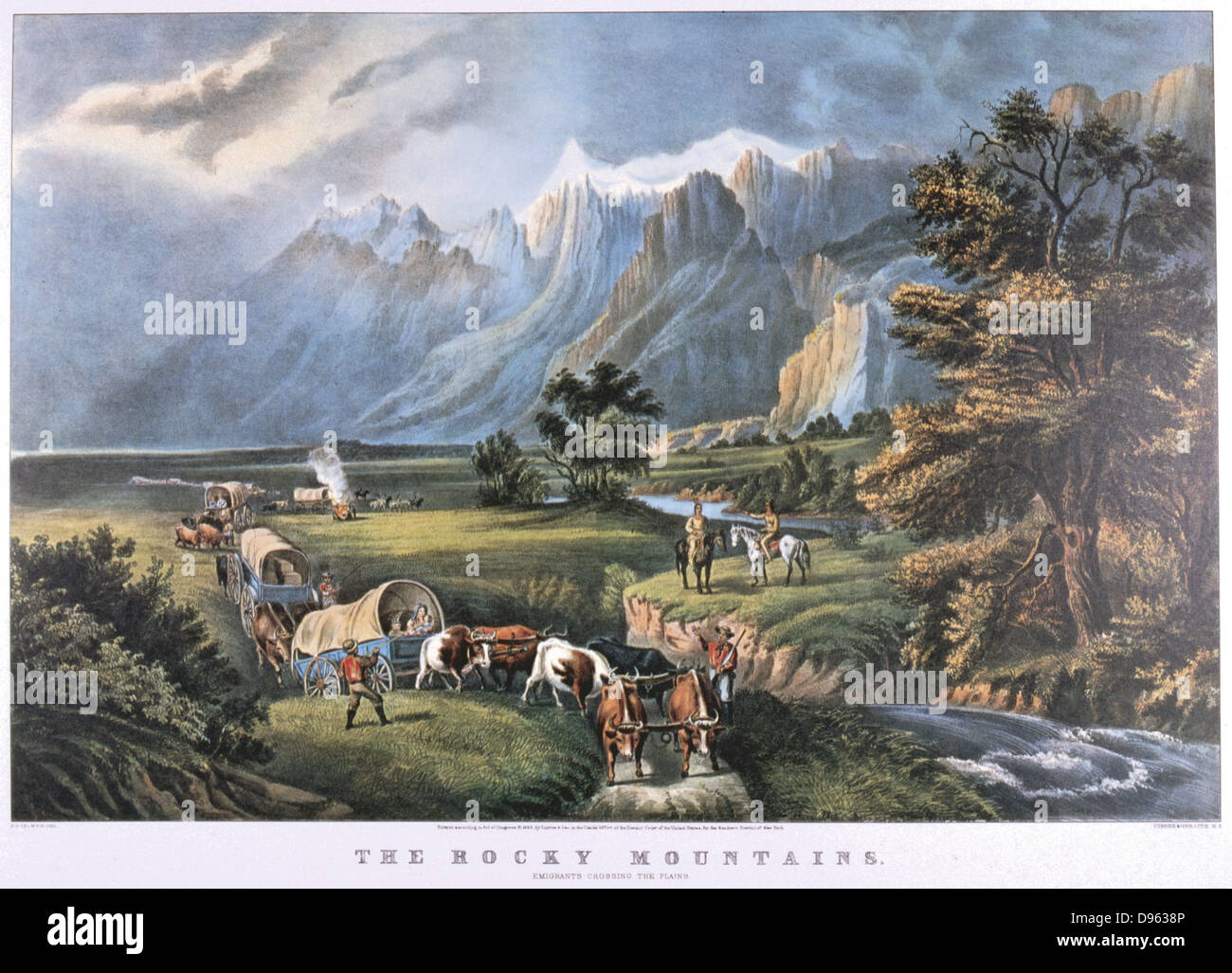 The Rocky Mountains. Emigrants in covered wagons crossing the Plains watched by Native Americans.  Lithograph by - Stock Image