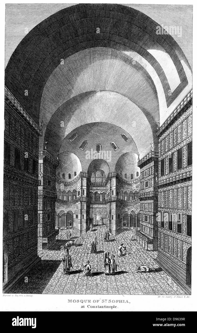Interior of Hagia Sophia, Constantinople, completed as cathedral in 537. Here in use as a Mosque. Engraving, 1815. - Stock Image
