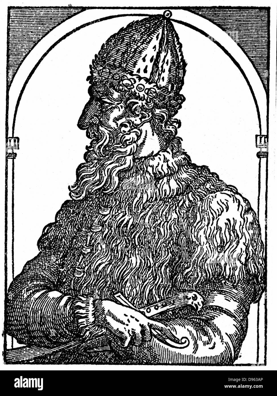 Ivan IV (Ivan the Terrible) 1530-1584. Tsar of Russia from 1533. From 16th century woodcut. - Stock Image