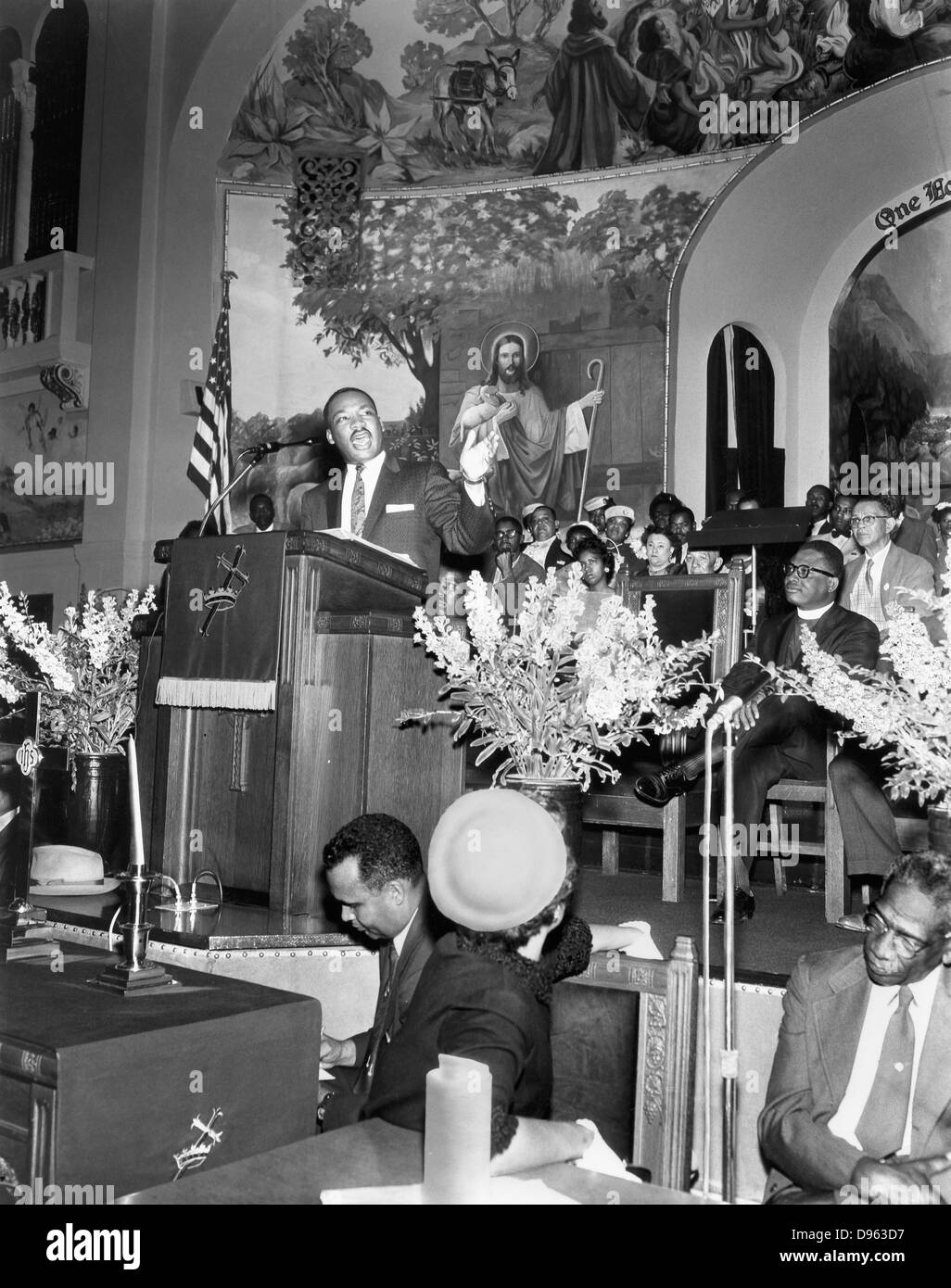 Martin Luther King  Jnr (1929-1968). American black civil rights campaigner in the pulpit. Assassinated, supposedly - Stock Image