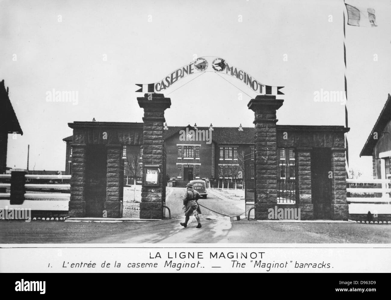 World War 2: The Maginot Line, French defensive installation. The entrance to the Maginot barracks. - Stock Image