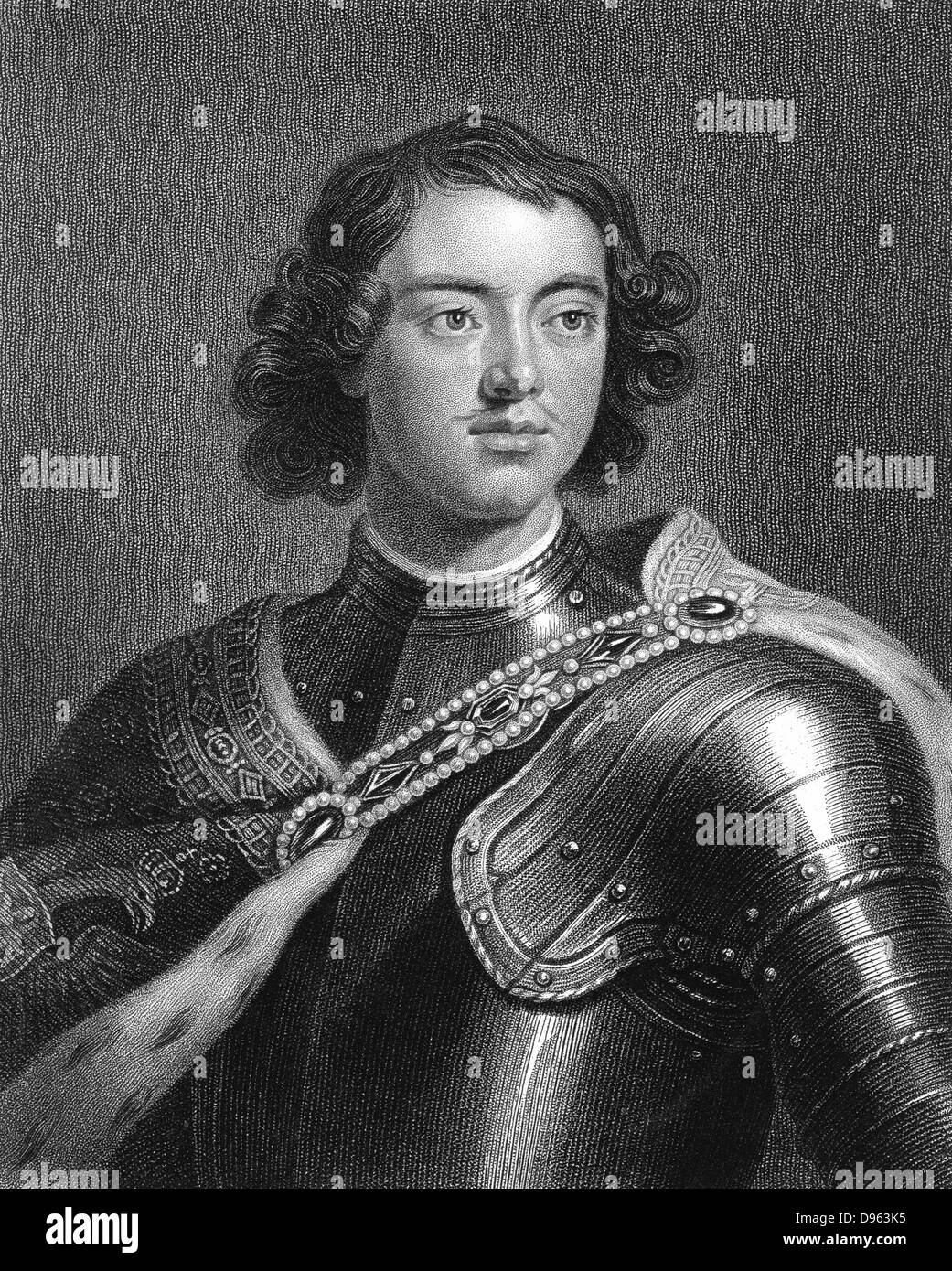 Peter I the Great (1672-1725. Tsar of Russia from 1682. Engraving - Stock Image