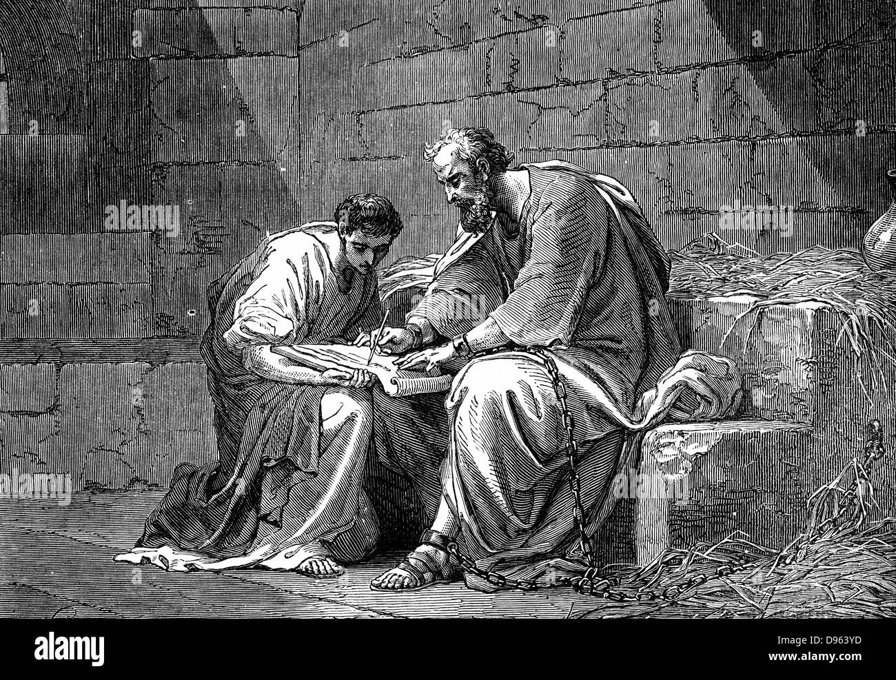 St Paul the Apostle in prison, writing his epistle to the Ephesians. 1st century AD. 'Bible' Ephesians 3.1. - Stock Image