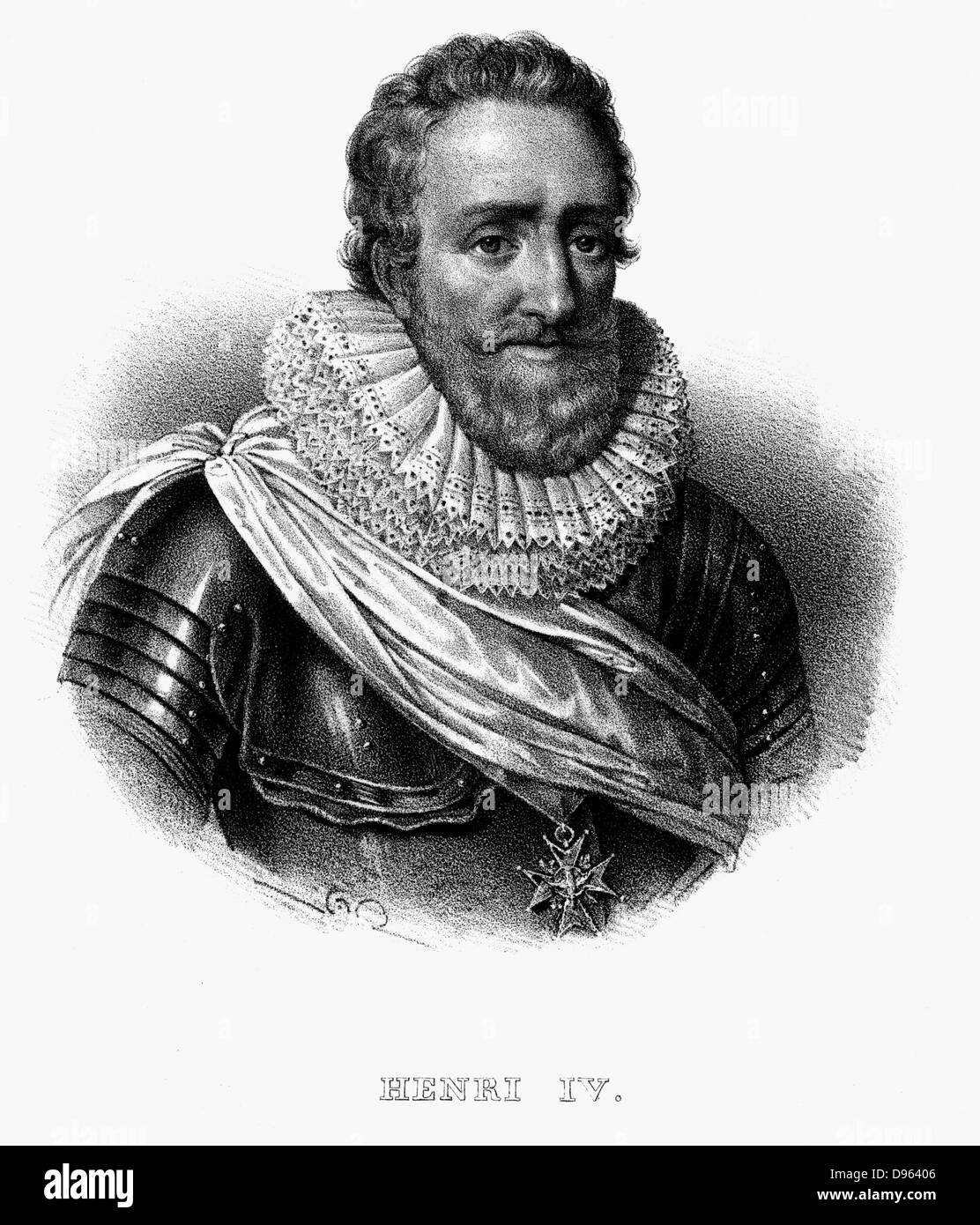 Henry IV (1553-1610) King of Navarre (1572) King of France 1589.  Lithograph c1820. Stock Photo
