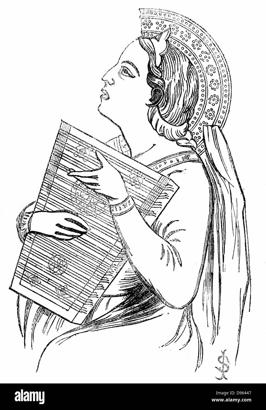 Playing a Psaltery. Woodcut c1840 - Stock Image