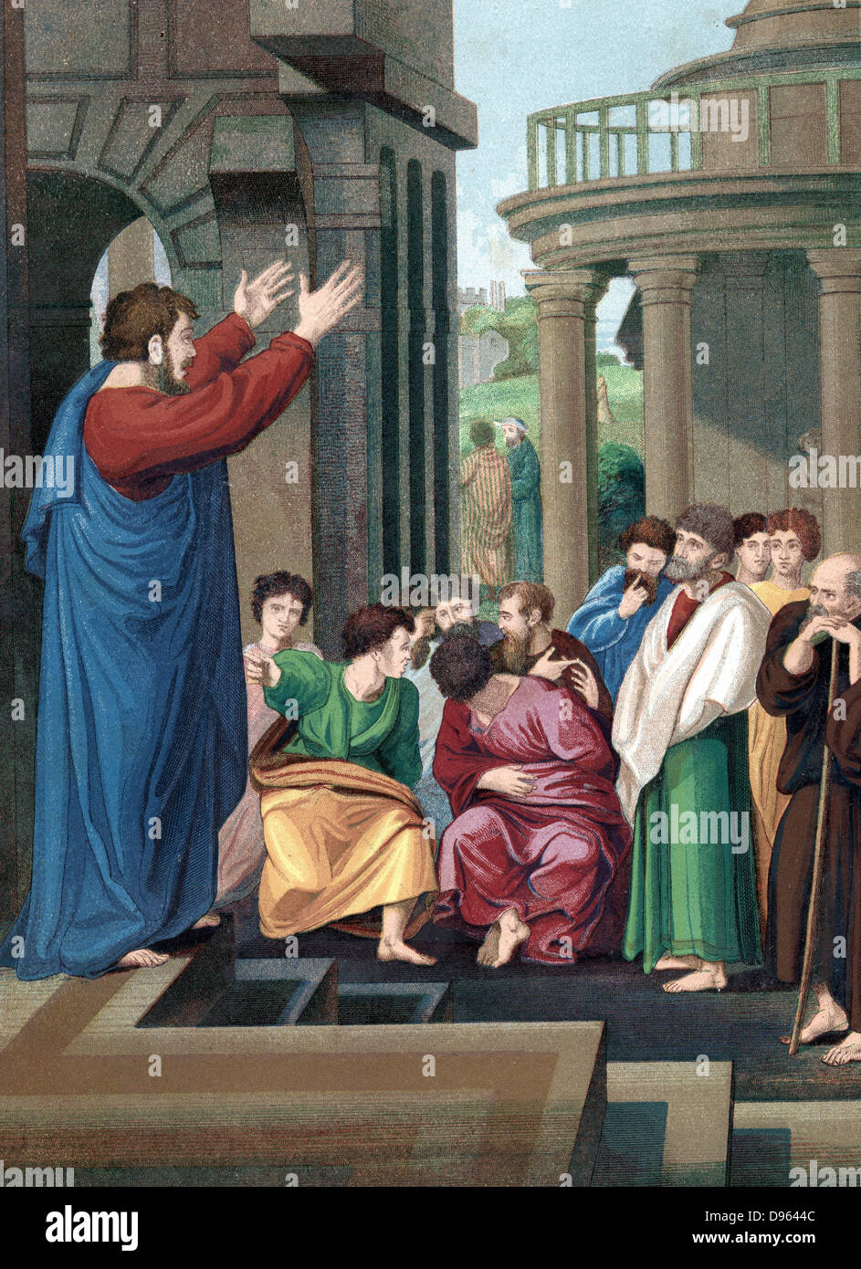 St Paul the Apostle preaching to the Athenians.  'Bible' Acts. Chromolithograph c1860. Colour. - Stock Image