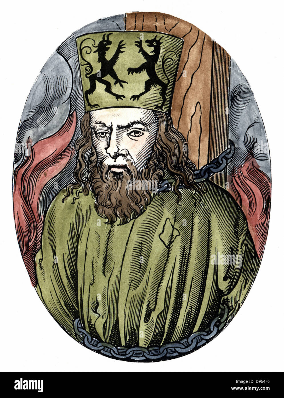 Jan Huss (1369-1415)  Heretical Bohemian theologian.  Burnt at Constance for preaching the teachings of  Wycliffe. - Stock Image
