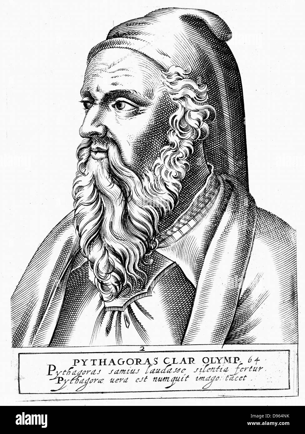 Pythagoras (c560-c480 BC) Ancient Greek philosopher and scientist. Engraving. - Stock Image