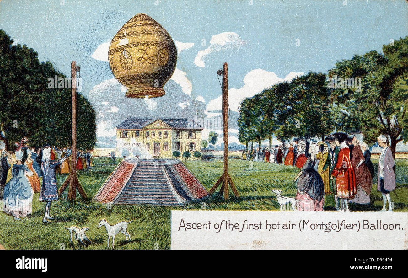 First ascent of Mongolfier hot air balloon, 21 November 1783.  From chromolithgotraph postcard published c1910. - Stock Image