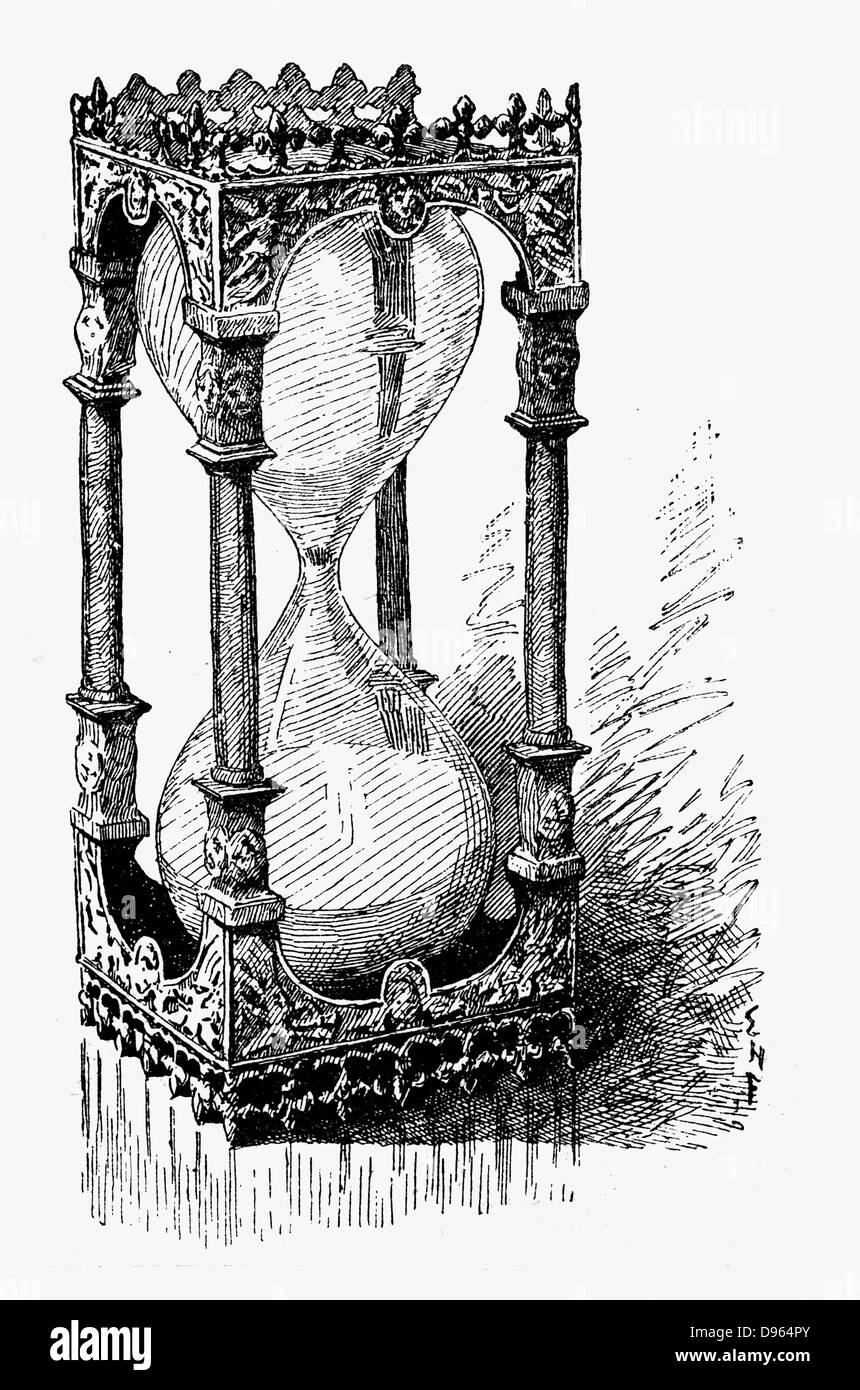 Hourglass. Engraving 1887. - Stock Image