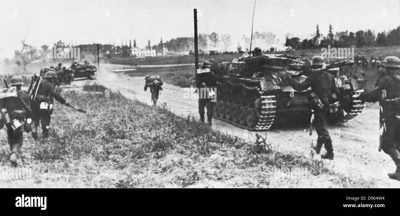World War 2: German invasion of Poland, 1 September 1939, using 45 German divisions and aerial attack. By 20 September - Stock Image