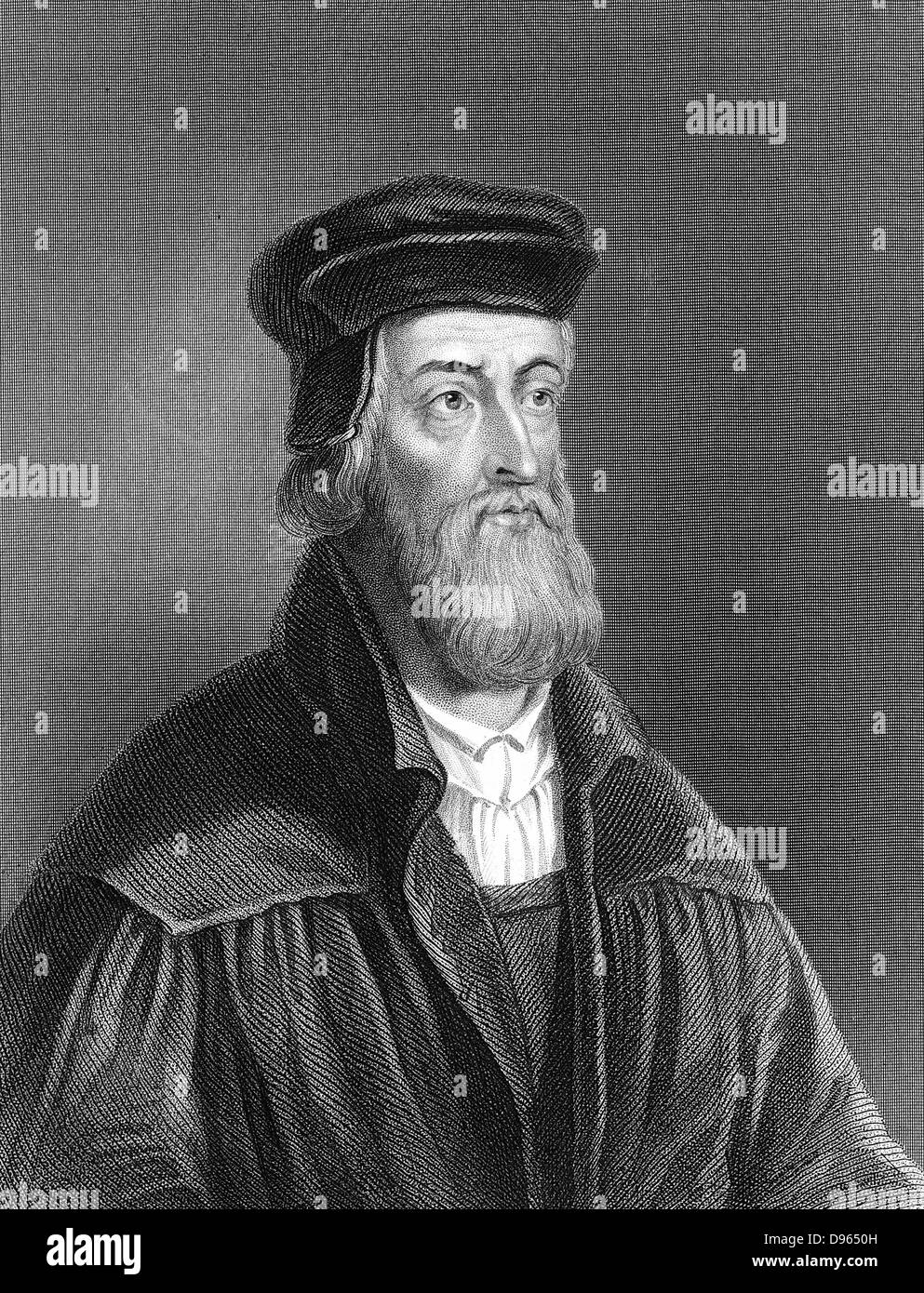 John Wycliffe (c1329-1384) English religious reformer.  Leader of the Lollards (Mumblers).  Questioned doctrine - Stock Image