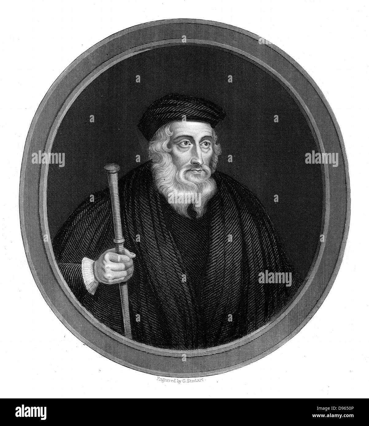 John Wycliffe (c13291384) English religious reformer.  Leader of the Lollards (Mumblers).  Questioned doctrine of - Stock Image