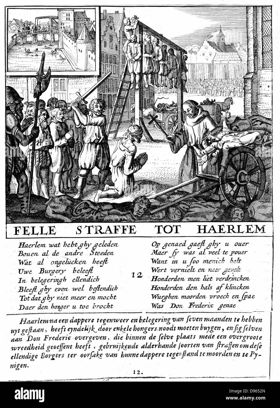 Protestants in the Netherlands being executed for heresy during Duke of Alva's repressive rule (1567-73). Copperplate - Stock Image