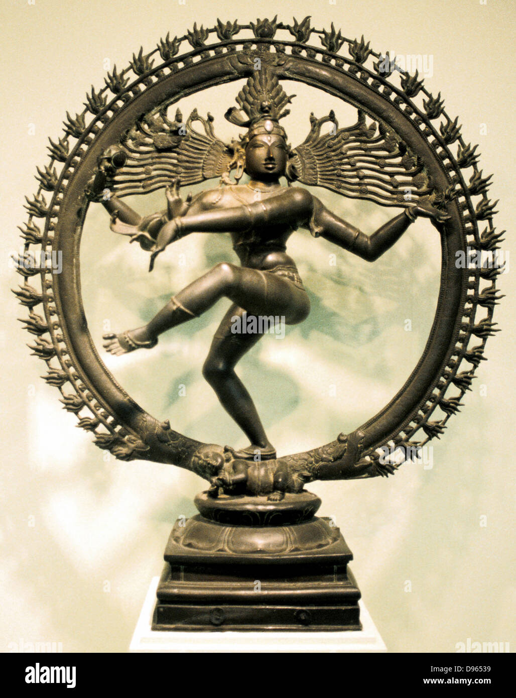 Hindu god Shiva (Siva). 16th century Chloa bronze representation of Shiva in the dance of creation. Indian. - Stock Image