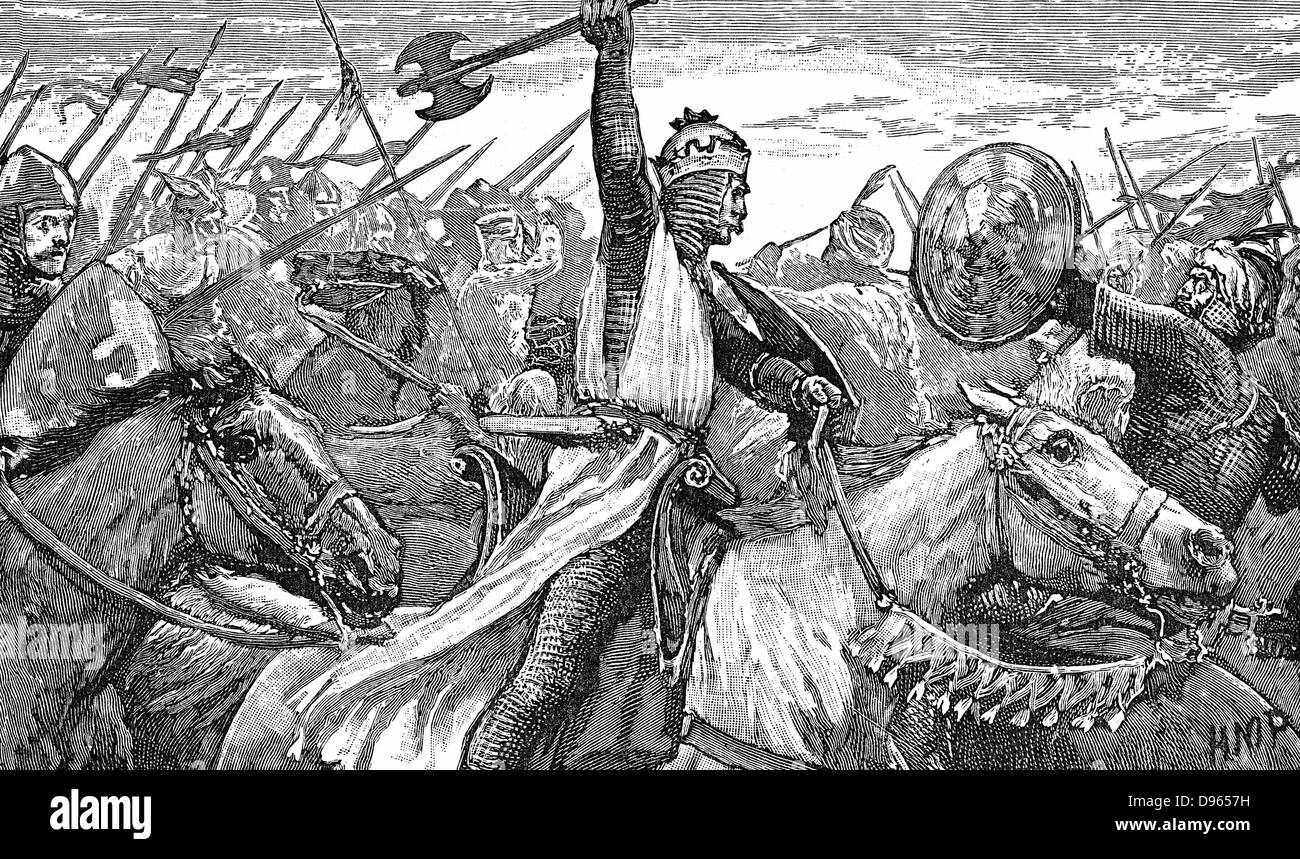 Charles Martel (c688-741) 'The Hammer' using a battle axe while repulsing the Moors at the Battle of Tours, near Stock Photo
