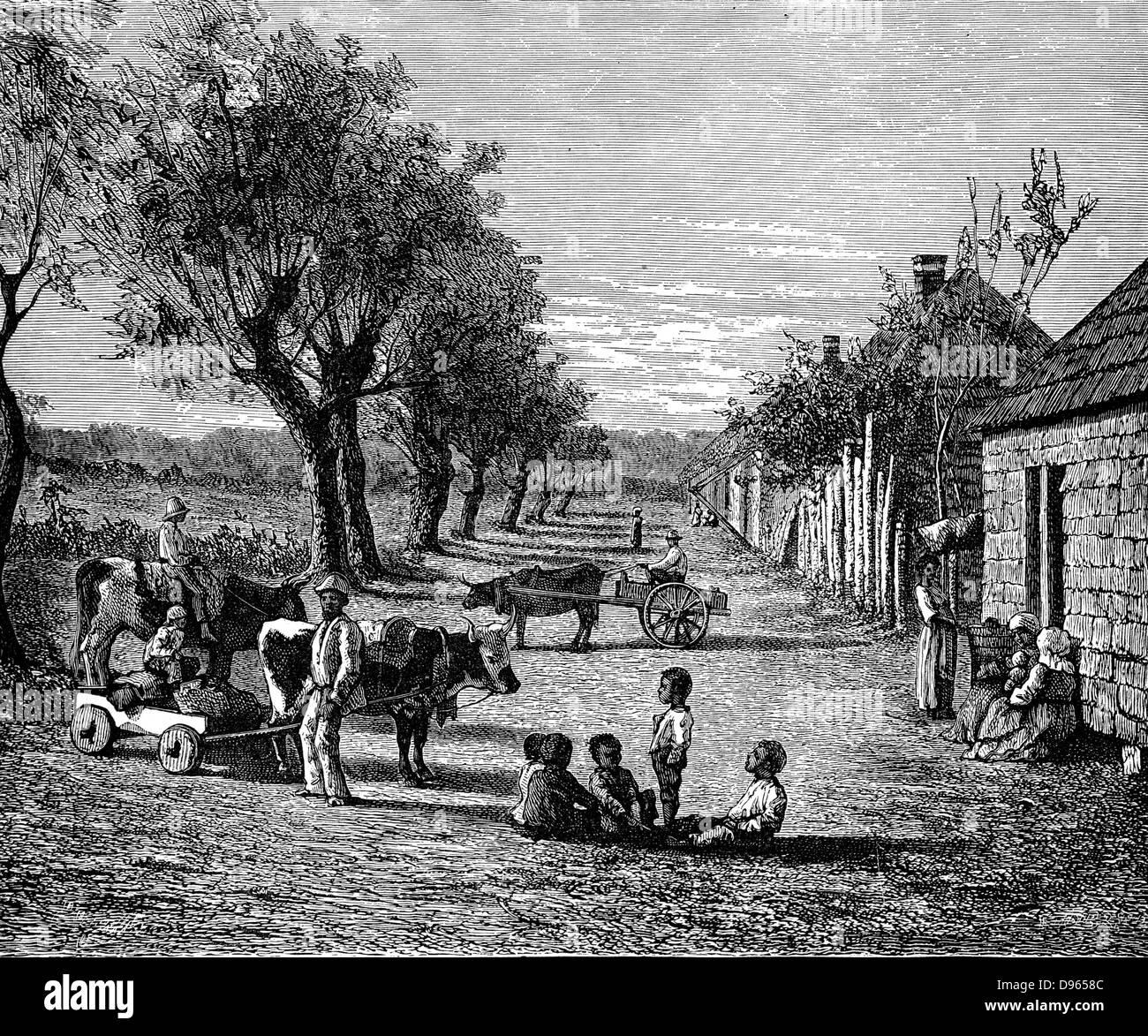 Slave quarters on a plantation in Georgia, USA. Wood ...