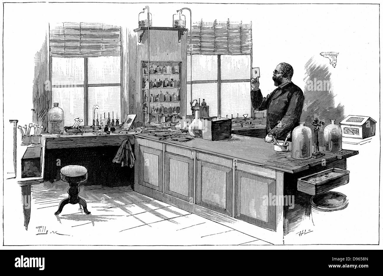 Robert Koch  (1843-1910) German bacteriologist and physician in his laboratory. In 1890 Koch introduced Tuberculin - Stock Image