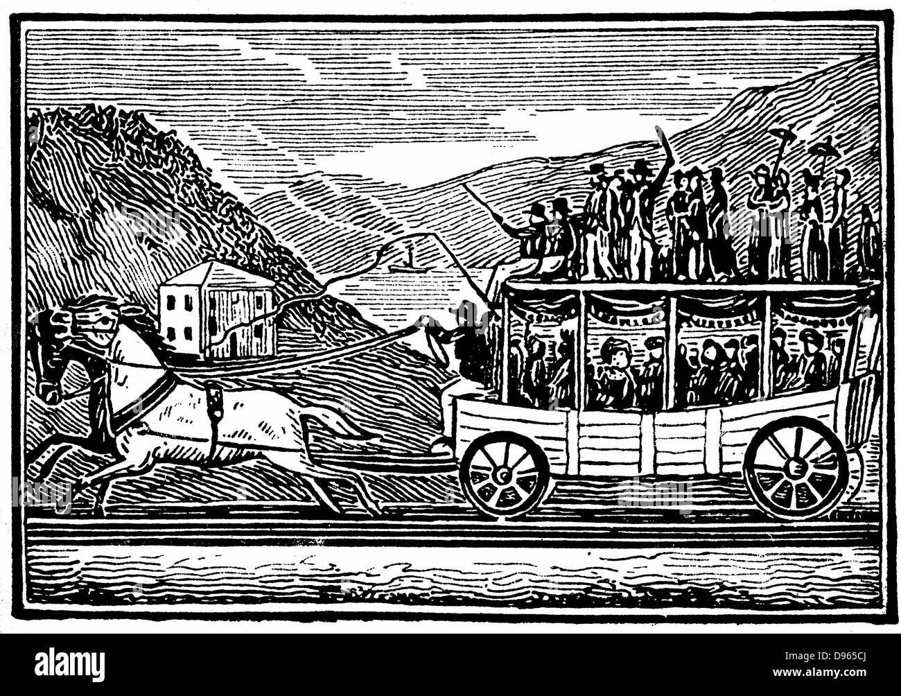 Horse-drawn carriage on the Baltimore and Ohio Railroad (1830-1835). Woodcut - Stock Image