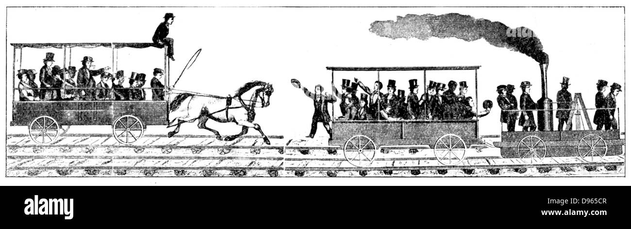 Race between Peter Cooper's locomotive 'Tom Thumb' and a horse-drawn railway carriage: Baltimore and - Stock Image