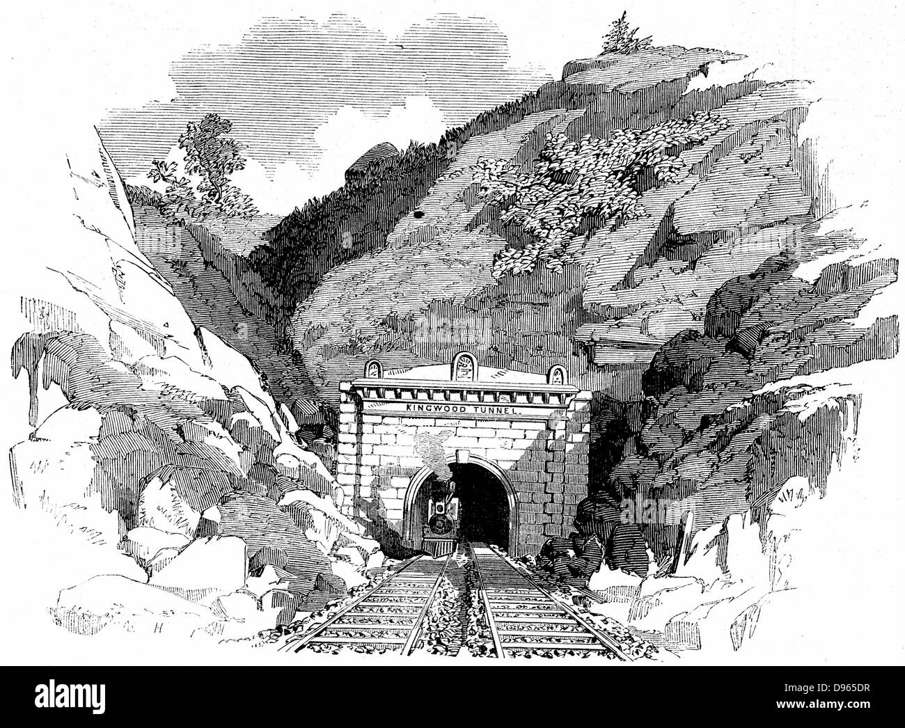 Baltimore and Ohio Railroad: Locomotive emerging from the 4100-ft Kingwood Tunnel through the Alleghany Mountains. - Stock Image