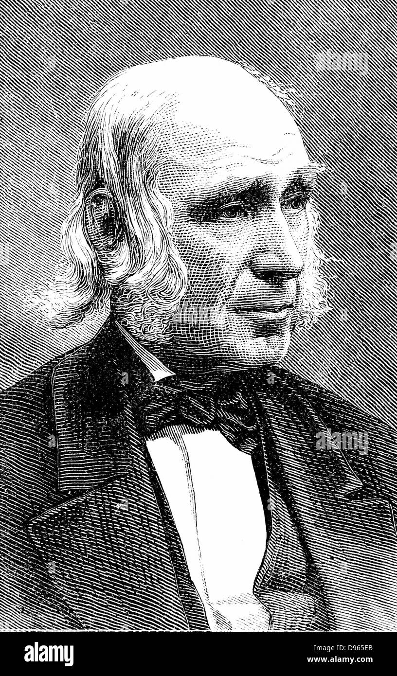 Amos Bronson Alcott  (1799-1888) American teacher and trancendentalist. Father of Louisa May Alcott. Wood engraving, - Stock Image
