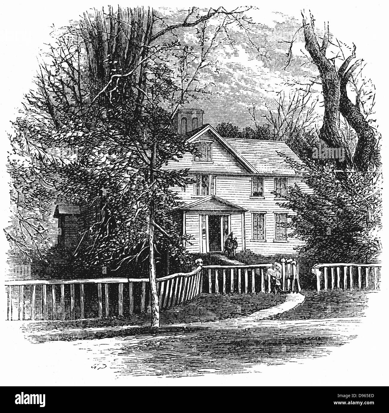 The home of Amos Benson Alcott (1799-1888) and his family, including Louisa May Alcott,  at Concord, Massachusetts. - Stock Image