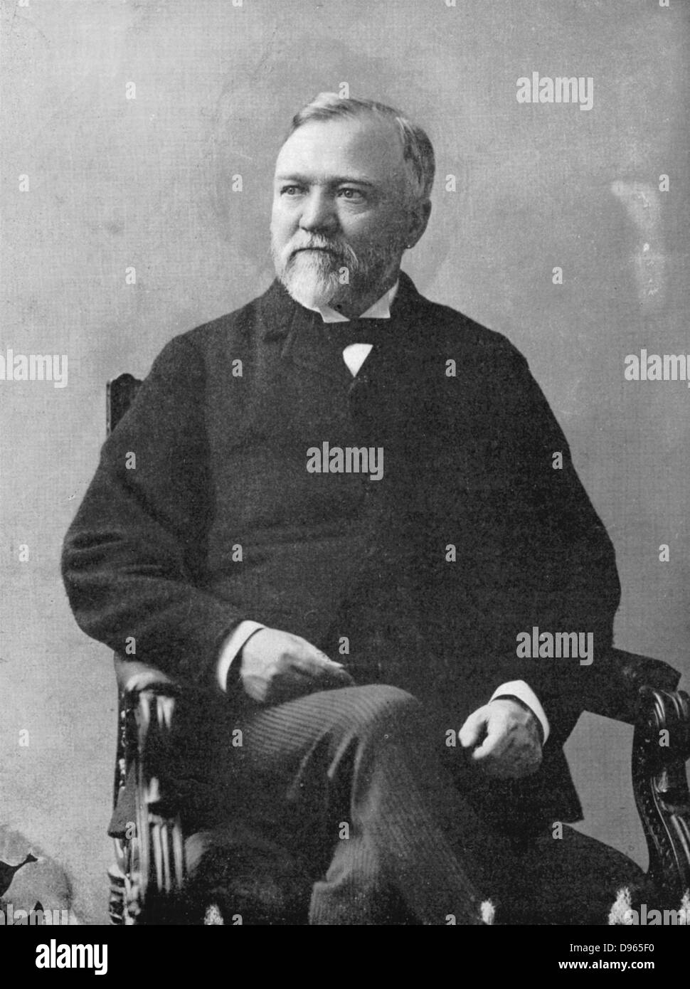 Andrew Carnegie  (1835-1918) Scottish-American industrialist and philanthropist. Public Libraries. After a photograph - Stock Image